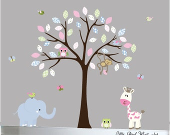 Baby wall decal vinyl tree decal sticker pink, blue and green patterned decal - 059