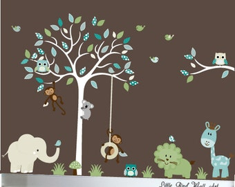 Childrens white tree wall decal giraffe,elephant,monkey, lion nursery wall decal tree with branch jungle decals - 033