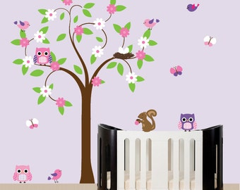 Children wall decal with swirl tree owls birds - nursery wall art sticker - 127