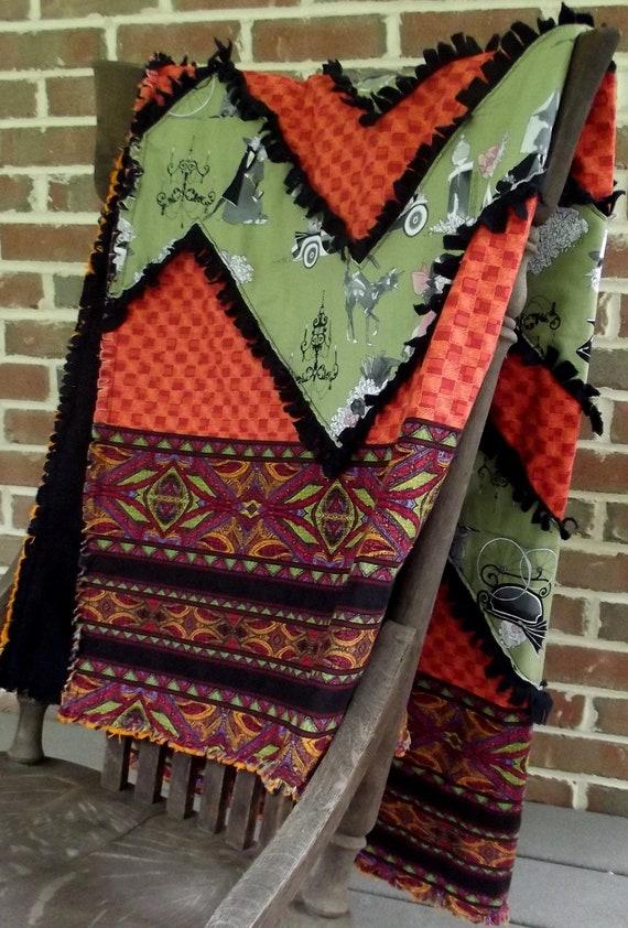 ghastlie halloween lap quilt, Alexander Henry rag quilt, throw, quilt blanket, designer quilt