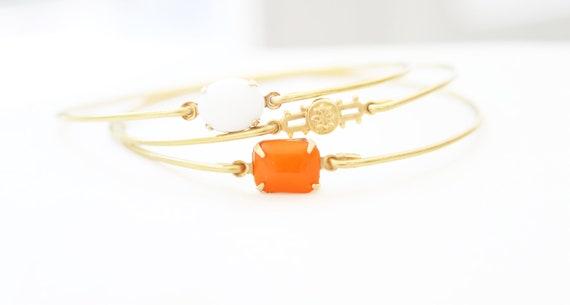 Late Summer Brass Bangle Set, Stackable Bracelet Set, Gem Stone Bangles, Stones in Settings, Bezel Bangle, Charm Bracelet