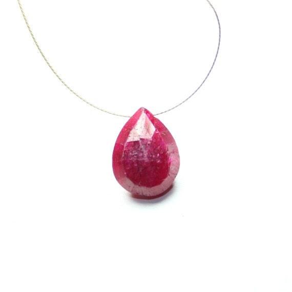 Ruby Faceted Pear Briolette, 1 focal AAA Dark Pink Natural Precious Gemstone July Birthstone
