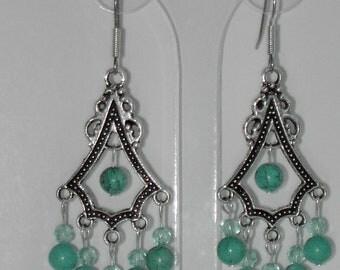 Turquoise tibet silver chandalier earrings (#147)