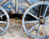 Blue paint on a wagon wheel, chipped and fading, original, signed Fine Art photo giclee print, Photography print, Wall art print