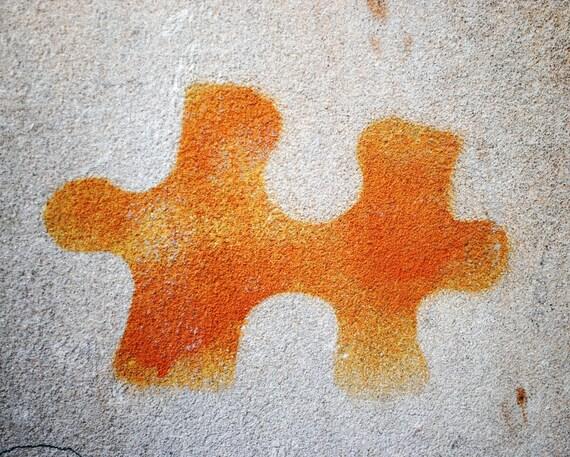 Orange Jigsaw Piece Graffiti, Fine Art Photography Print,Grey Concrete Wall, Liverpool UK,  Unique Home Decor, Wall Art, Gifts, Photo Prints