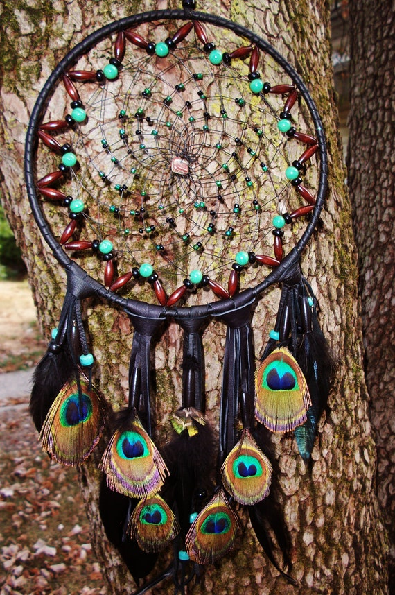 Dream Catcher Beaded with Peacock feathers