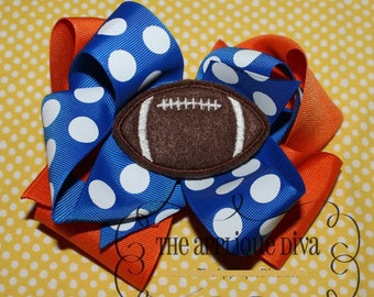 Football Hair Bow Center Embroidery Design Machine Applique