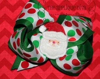 Christmas Santa Hair Bow Center Digital Embroidery Design Machine Applique