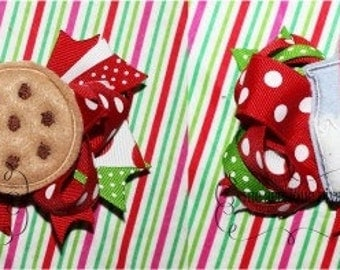 Christmas Milk and Cookies Bow Center Digital Embroidery Design Machine Applique
