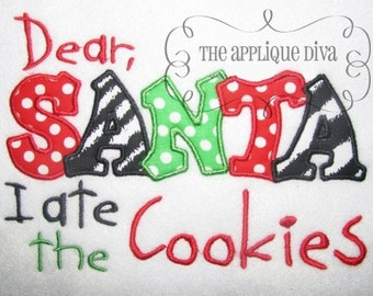Christmas I ate the Cookies  Digital Embroidery Design Machine Applique