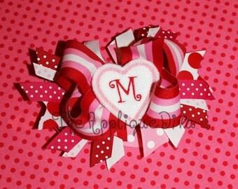 Valentine Heart Hair Bow Center Embroidery Design Machine Applique