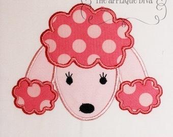 Paris Pink Poodle Face  Embroidery Design Machine Applique