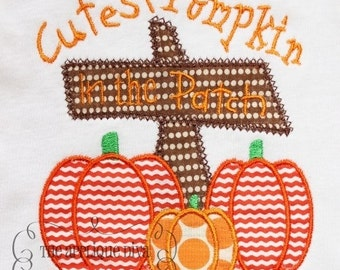 Fall Thanksgiving Cutest Pumpkin In The Patch Digital Embroidery Design Machine Applique