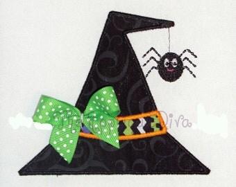 Halloween Witch Hat with Spider Machine Applique