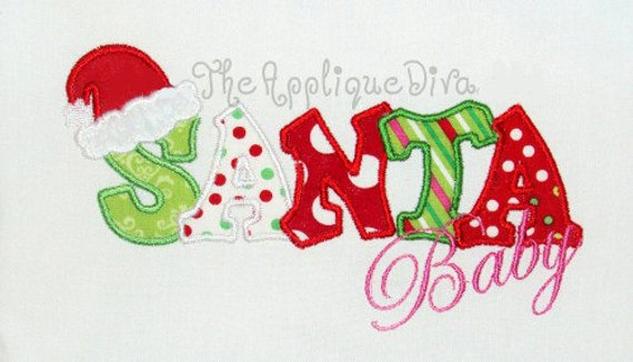 Christmas Santa Baby Embroidery Design Machine Applique