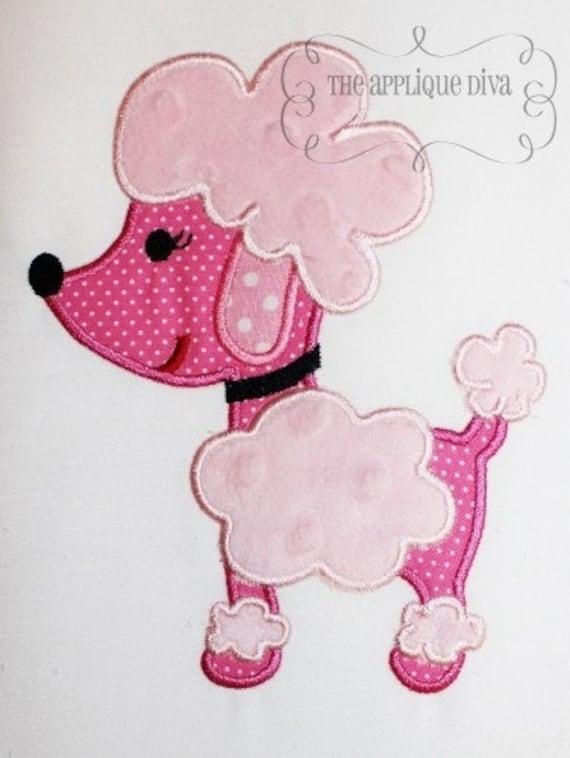 Paris Pink Poodle  Embroidery Design Machine Applique