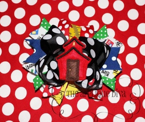 School House Hair Bow Center Embroidery Design Machine Applique