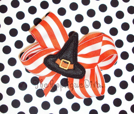 Halloween Witch Hat Hair Bow Center Embroidery Design Machine Applique