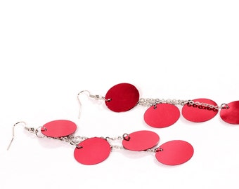 Party Dangle Earrings,  red circles, long chain Belly Dance style, pierced ears