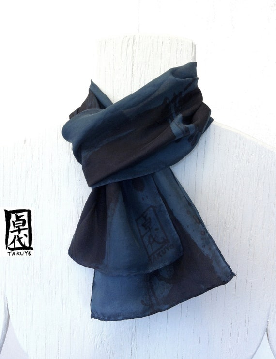 Mens Silk Scarf. Hand painted. Zen Bamboo Japanese Scarf. Steel Blue. Silk Scarves Takuyo. Gifts for men. Blue silk scarf. Approx 7.5x52 in.