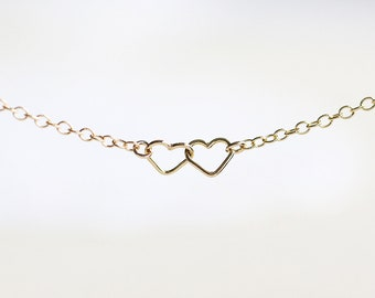 Heart Bracelet - tiny 14k gold filled entwined hearts, everyday jewelry by petitor, stocking stuffer