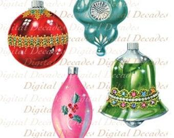 Christmas Tree Ornaments - Digital Image - Vintage Art Illustration