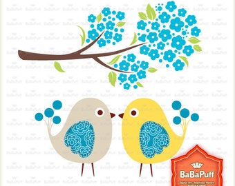 Instant Downloads, Kissing Birds and Turquoise Blue Blossom Tree Branch, Wedding Cards Making, Personal and Small Commercial Use. BP 0452