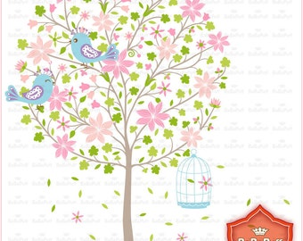 Instant Downloads, Blossom Tree Clip Art, For Wedding Invitations Cards Making, Handmade Crafts, Personal and Small Commercial Use. BP 0677