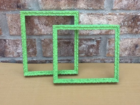 ornate vintage frame upcycled green square home decor wall hanging bright housewares kitsch retro