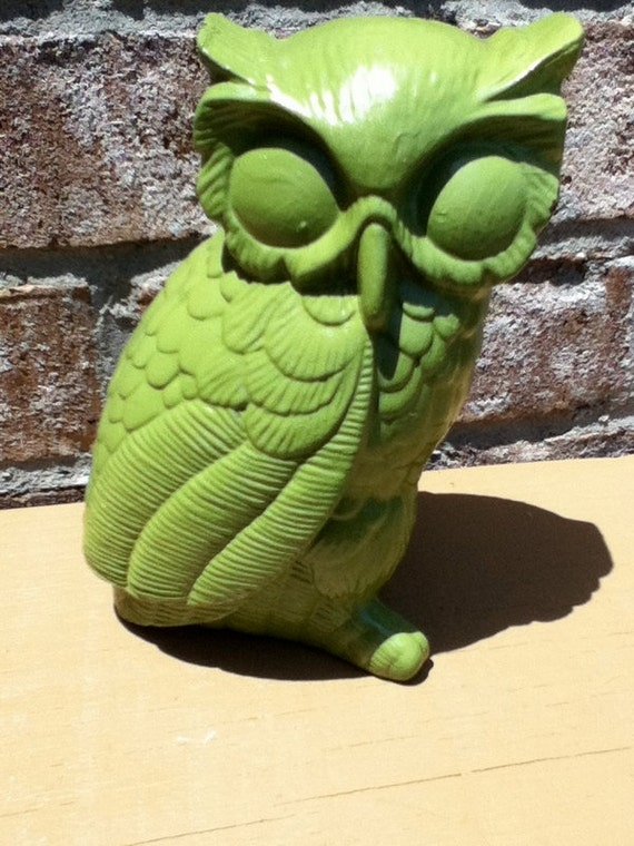 owl home decor green upcycled retro mod bright housewares kitsch nursery decor modern home decor