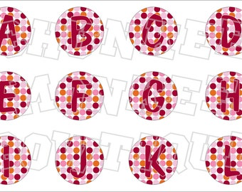 Cranbery and pink polka dot alphabet bottlecap image sheets