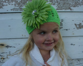 Crochet Beanie Hat. Lime Green Beanie hat with Big green flower