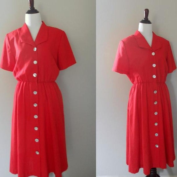 Vintage Red Button Front Beach Dress