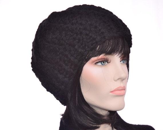 Chunky Beatnik Black Beanie Womens Hat Decorative Stitching