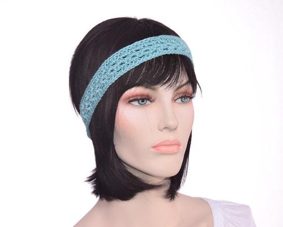 Womens Crochet Headband Aqua Blue Headband Womens Crochet Hairband Ready to ship Hand made