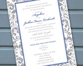wedding invitations, bridal shower invitations, silver cobalt wedding invitations, blue and silver bridal shower invitations, IN129
