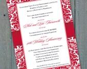 wedding invitations, 40th anniversary party invitations, cherry red wedding invitations, apple red bridal shower invitations