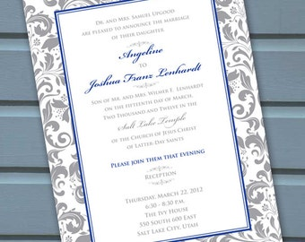 Wedding Invitations Bridal Shower Silver Cobalt Blue And