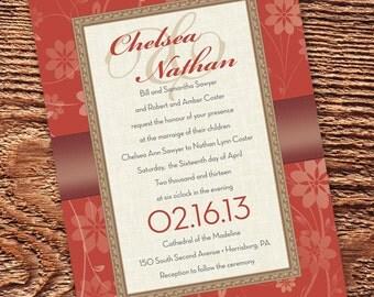 wedding invitations, rust wedding invitations, bridal shower invitations, burnt orange bridal shower invitations, cream bridal shower