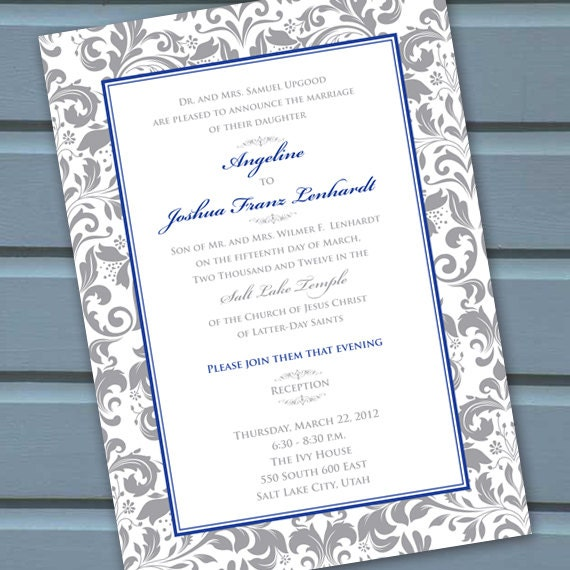 wedding invitations, bridal shower invitations, silver cobalt wedding invitations, blue and silver bridal shower invitations, IN129