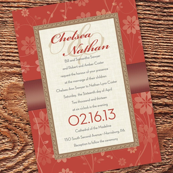 wedding invitations, rust wedding invitations, bridal shower invitations, burnt orange bridal shower invitations, cream bridal shower