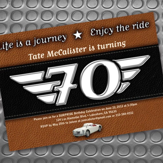 retirement party invitations, Life is a Journey birthday invitations, retirement party, motorcycle party invitations, Harley Davidson party