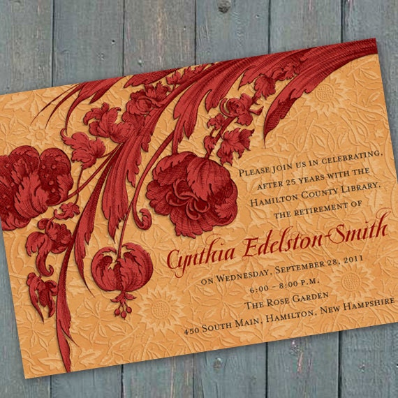 bridal shower invitations, cranberry and gold bridal shower invitations, red and golden retirement party invitations, red retirement party