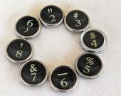 Typewriter Keys - GENUINE Vintage Keys,  Set of Numbers, 2-9, 8 total