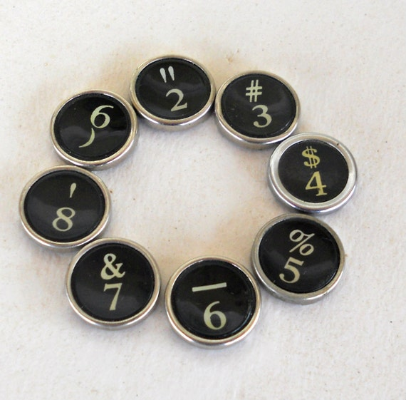 Typewriter Keys - GENUINE Vintage Keys,  Set of Numbers - 2-9 - Serif keys - Smith & Corona