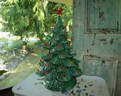 """18"""" green nowell ceramic christmas tree with star"""