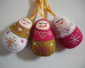 Three Russian Doll Christmas Tree Decorations - Pink, Gold and White