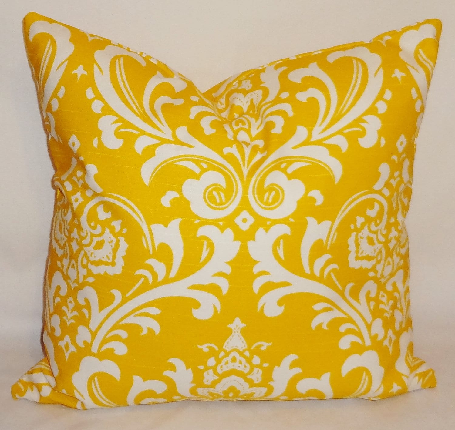 Decorative Pillows Corn Yellow & White Damask Pillow by HomeLiving