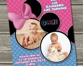 Twins Minnie Mouse and Mickey Mouse 1st Birthday Invitation (Digital File) I Design, You Print