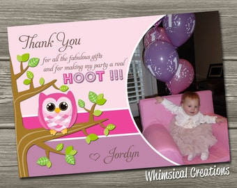 Owl Thank You Card (Digital File) Owl Birthday Thank You Card - I Design, You Print